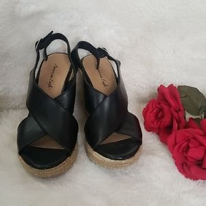 American Eagle Outfitters Shoes - American Eagle Black and Tan Wedges Size 7 1/2